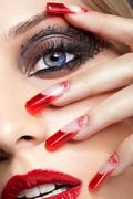 Acrylic nails manicure Stock Photos