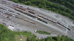 Train Moving in Rail Yard Stock Footage
