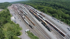 Moving Train in Rail Yard Stock Footage
