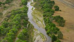 Aerial view of natural river Stock Footage