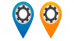 Two colored map pointers with rotating gears inside Stock Footage