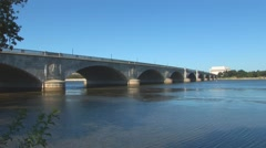 Arlington Memorial Bridge and Lincoln Memorial Stock Footage