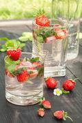 mojito strawberry cocktail - stock photo