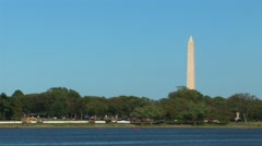 Washington Monument and Potomac River Stock Footage