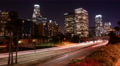 4K LA Night Cityscape 16 Zoom In Timelapse Downtown 110 Freeway Footage