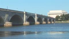Arlington Memorial Bridge and Lincoln Memorial Stock Footage