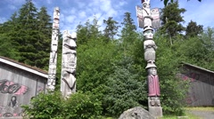 Totem Poles, and lodge Stock Footage