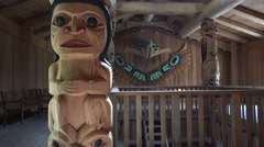 Totem Poles, inside lodge structure Stock Footage