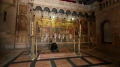 Jerusalem 4K Church of the Holy Sepulchre Stone of Anointing 1 25P Stock Footage