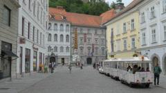 Ljubljana Slovenia triple bridge to castle view architecture old town center Stock Footage