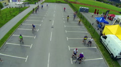 Cycling competitors starting to gather flight over Stock Footage