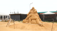 Vikings and Nordic Gods in the shape of sandsculptures Stock Footage