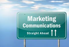 highway signpost marketing communications - stock illustration
