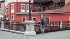 Tourists walking, romantic European town, beautiful city, bridge, memories Stock Footage