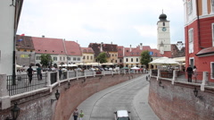 Beautiful old town, Transylvania, medieval, central square, architecture Stock Footage