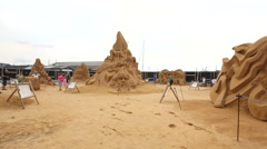Sand and beautiful sandsculptures Stock Footage