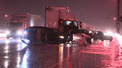 car truck crash and accident scene on the highway in heavy rain storm at night. - stock footage