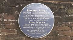 Blue plaque on Monnow medieval bridge Stock Footage