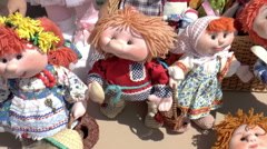 Open Fair Folk. Toys made of fabric, plush toys. Stock Footage