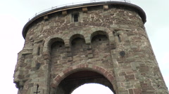 Monnow medieval bridge and gate 5 Stock Footage