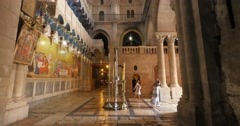 Jerusalem 4K Church of the Holy Sepulchre Stone of Anointing 1 24P Stock Footage