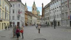 Ljubljana Slovenia center old town architecture Mestni Trg square street Stock Footage