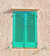 aqua shutters - stock photo