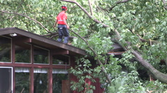 Tornado damage in Grand bend Ontario July 2014 EF-1 serious storm damage Stock Footage