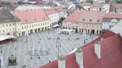 Central square,beautiful medieval town,Europe,architecture,old city,aerial view Stock Footage