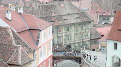 Beautiful aerial view, European medieval town, bridge, architecture, tourists Stock Footage