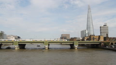 Timelapse of Trains crossing Cannon Street Bridge and The Shard London UK Stock Footage
