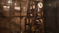 Very old mechanical clock tower mechanism, time, dial, gears - stock footage