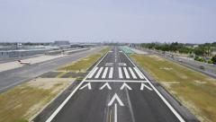 Aerial first person view, POV of plane landing on runway Stock Footage
