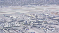 Aerial view of LAX Los Angeles Californian Airport Stock Footage