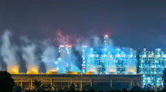 Stock Video Footage of Night scene of refining plant