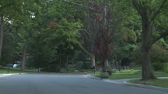Driving plate, rear view, day: wealthy neighborhood B Stock Footage