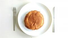 Healthy breakfast, banana pancakes Stock Footage