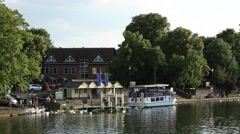 Thames River Cuise boat in Windsor Eton Stock Footage