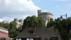 Windsor Castle The Round Tower England, GB with clouds Stock Footage