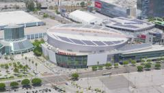Aerial view of the Staples Center in Los Angeles City Stock Footage