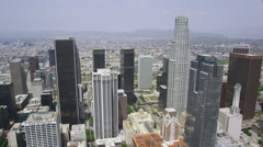 Aerial view of  Los Angeles cityscape and skyscrapers - stock footage