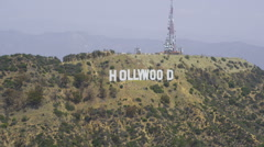 Aerial view of Hollywood Sign in Los Angeles Stock Footage