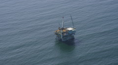 Aerial view of California oil rig platform Stock Footage