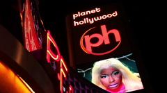 LAS VEGAS - PLANET HOLLYWOOD SIGN WITH ROTATION Stock Footage