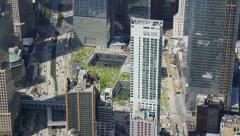 Aerial shot zoom into Ground Zero and Freedom Tower - stock footage
