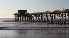Waves under the Cocoa Beach Fishing Pier Stock Footage