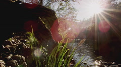 River Gently Flowing in Brilliant Morning Sun flare  Also in 4K - stock footage