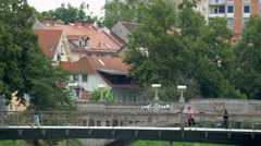 LJUBLJANA, SLOVENIA - JUL 2014: Popular Mesarski most (butcher's bridge) Stock Footage