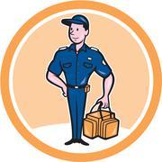 paramedic holding bag circle cartoon - stock illustration