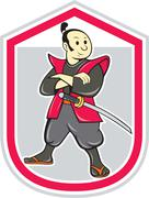 samurai warrior arms folded shield cartoon - stock illustration